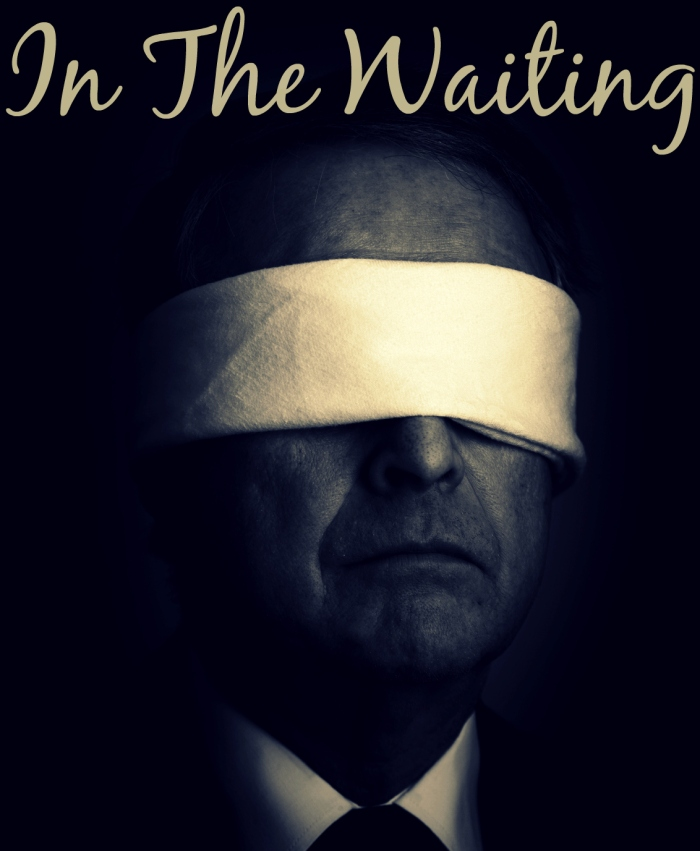 Portrait of a senior businessman with a blindfold on.